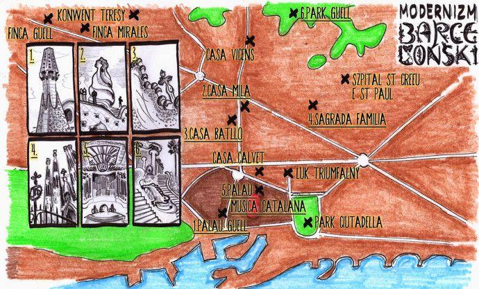 Dziś przedstawiamy Wam mapę Barcelony. Dokładnie modernizm Gaudiego w Barcelonie (i innnych) #Barcelona #Gaudi Post: http://gdziewyjechac.pl/24691