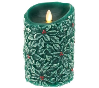 Luminara Real Wax Flameless Candles | Luminara - Flameless LED Candle - Indoor - Wax - Embossed Forest Green ...
