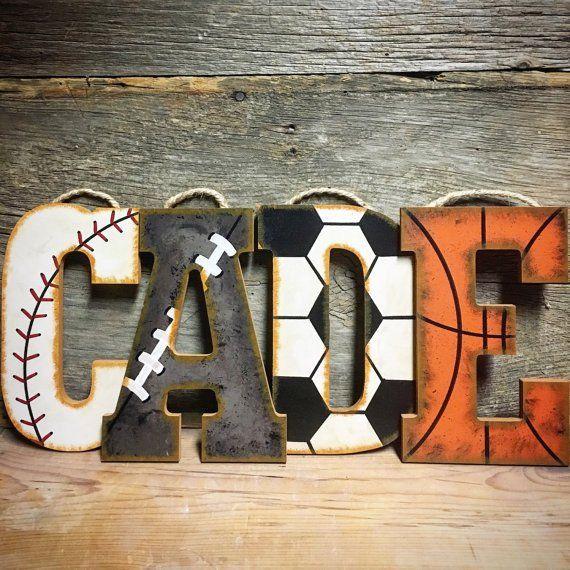 Sports Nursery Wall Letters-Sports Letters-Hand Painted-Wood Letters-Baseball Nursery-Vintage Sports Nursery-Basketball Nursery-Football Nursery