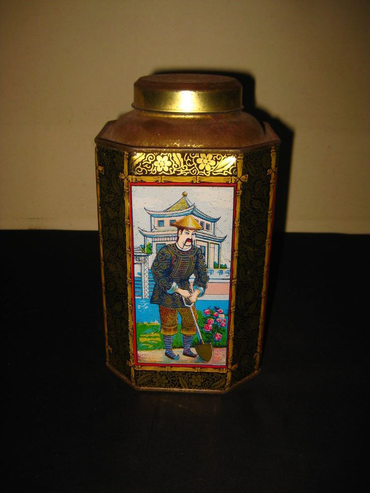 ANTIQUE PORTUGAL PORTUGUESE CHINESE TEA THÉ TEE LITHO TIN BOX CAN 1900s RARE