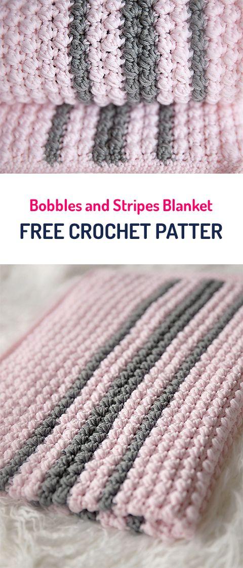 Bobbles and Stripes Blanket Free Crochet Pattern #crochet #yarn #balnket #home #homedecor #crafts