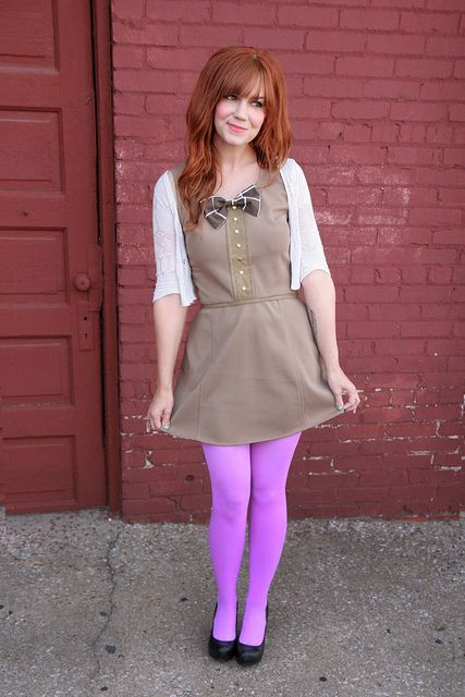 Love those tights!  Who knew pepto-pink could be so cute!