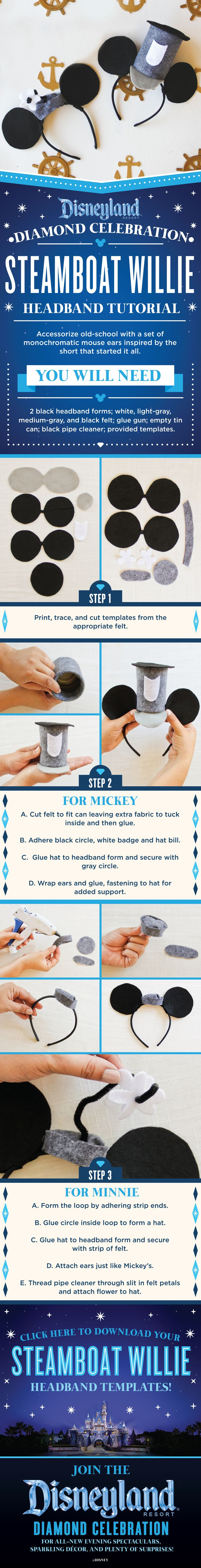 Join the Disneyland Resort Diamond Celebration and show off your retro Disney Side with this DIY Steamboat Willie inspired headband tutorial!