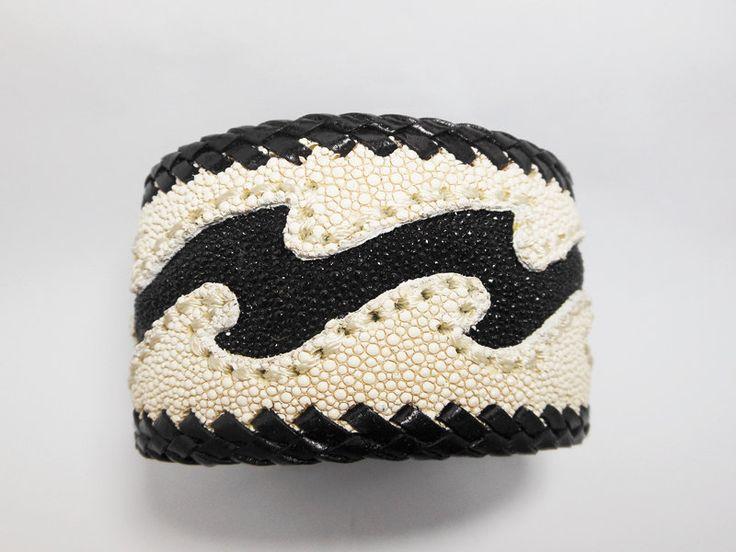 Black Stingray Wave Leather Cuff Bangle,White Leather Cuff,Men Leather Bracelet,Cuff Bracelet,Men Cuff.Leather Cuff,Wave,Black & White Cuff by Supsilver on Etsy