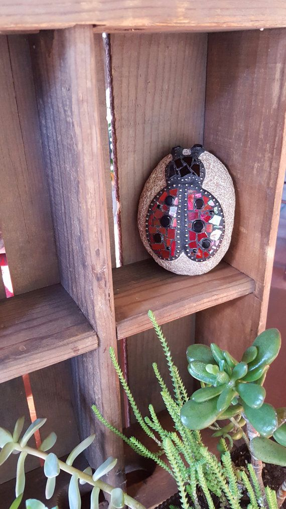 Mosaic Ladybug Rock Paperweight / Decorative Rock by BearRiverBarn