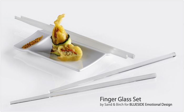 Chopsticks handmade from borosilicate glass with a convenient, porcelain holder/sauce dish with essential lines. This set emphasizes the precious nature of the object, and suggests the use of the chopsticks not just for typically oriental dishes, but also for foods closer to Mediterranean tastes, such as raw fish and Italian-style sushi. The glass chopsticks are available in either clear or frosted glass.  Design: Sand & Birch