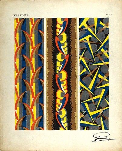 GARCELON, A. Inspirations Pl. no.7. Original pochoir print for Inspirations, published by Charles Massin #Paris #1920 #print #textiles #design #pattern #colour