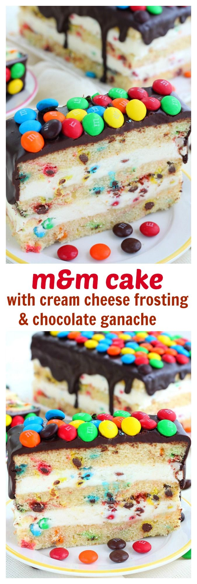Love M&M'S? You're gonna love this M&M'S cake! Incredible simple to make, loaded with candy and topped with a smooth ganache and more candies! It's a M&M's paradise cake!