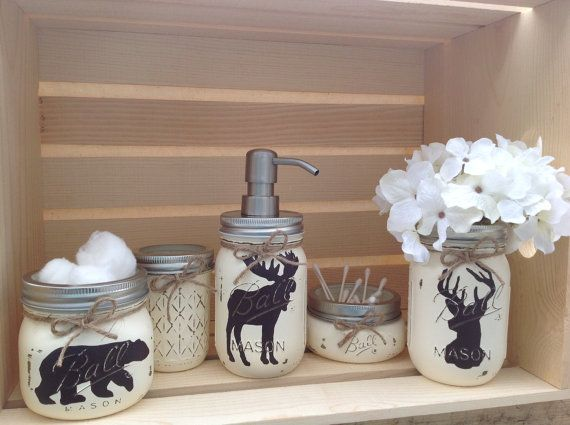 Hand painted mason jar bath set rustic animals woodland for Bathroom jar ideas