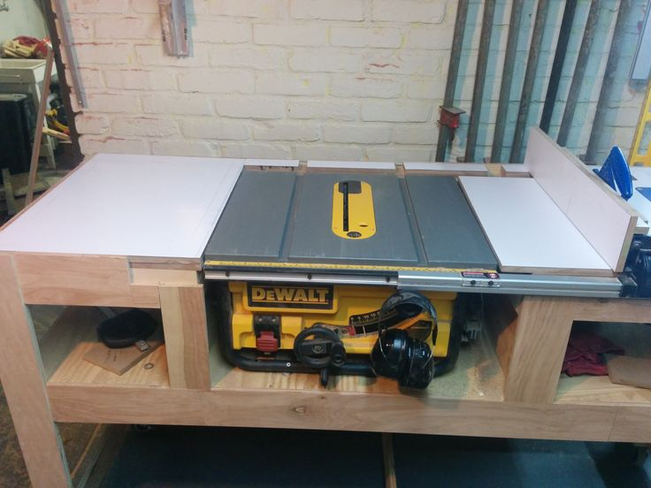 "Table saw station - Album on Imgur.  I liked this idea for a saw table and built my own from a bench I called ""THE BEAST"", which I made with the help of a friend. I only wish I could post the finished item but i don't know how."