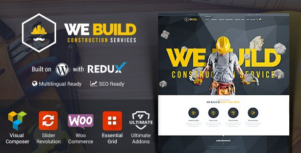 We Build – Responsive Construction WordPress Theme We Build is the perfect Premium WordPress theme for your construction business that will make your life easier and will brighten up your ideas wit...