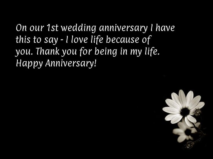 On our 1st wedding anniversary I have this to say - I love life because of you. Thank you for being in my life. Happy Anniversary!