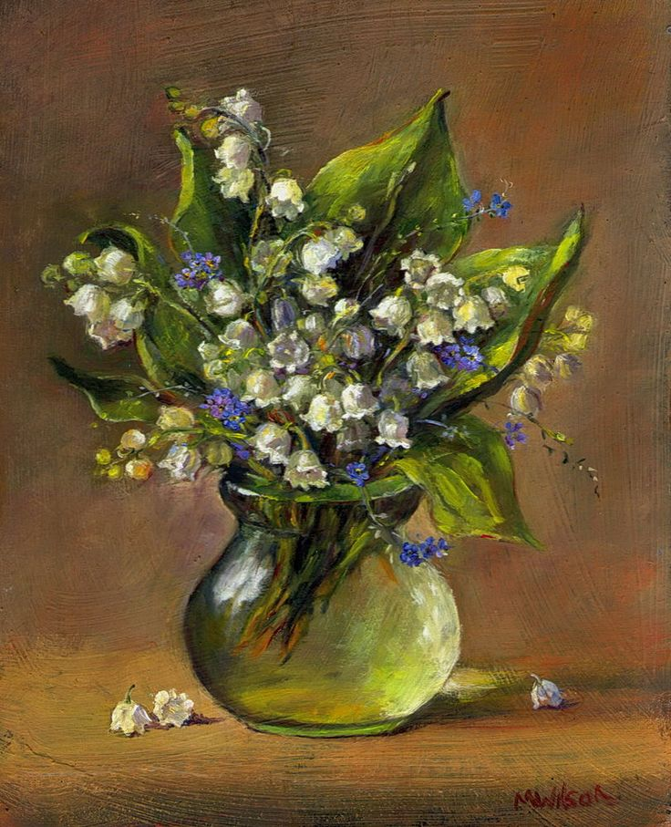 Oil Painting/ Marjorie Wilson/ Floral Still Life 'Lily of the Valley'