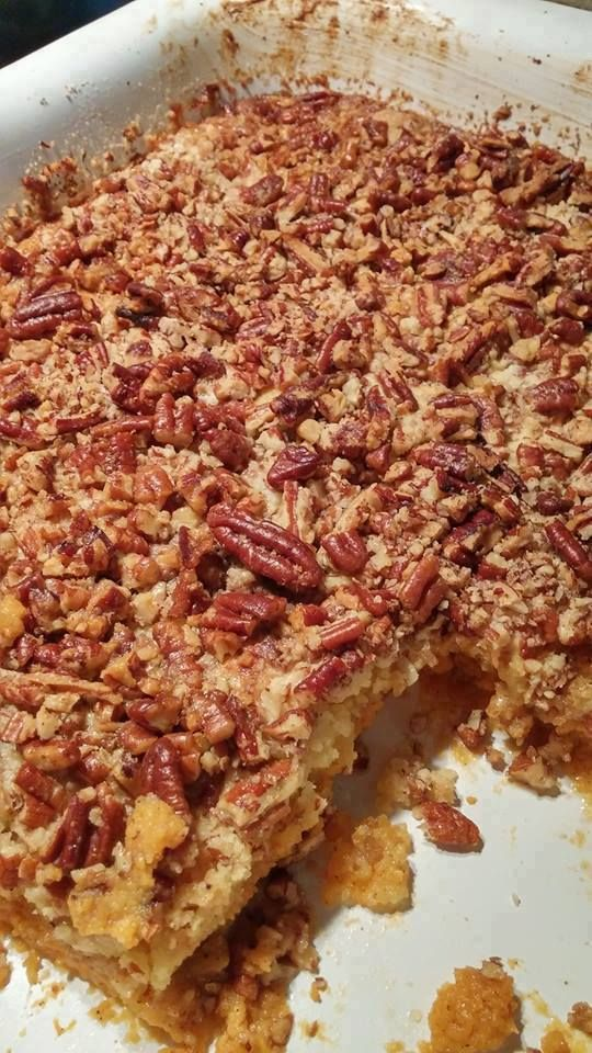 INGREDIENTS: 1 box yellow cake mix 1 15 ounce can pumpkin 1 12 ounce can evaporated milk 3 eggs 1 1/2 Cup sugar 1 tsp cinnamon 1/2 tsp salt 1 Cup chopped pecans 1 Cup melted butter DIRECTIONS: Preheat oven to 350. Grease 13×9 baking dish. Combine pumpkin, evaporated milk, eggs, sugar, cinnamon and salt. Mix well and pour into your prepared dish. Sprinkle yellow cake mix evenly over Pumpkin mixture. Top with chopped pecans. Drizzle butter over pecans. Bake 50-55 minutes