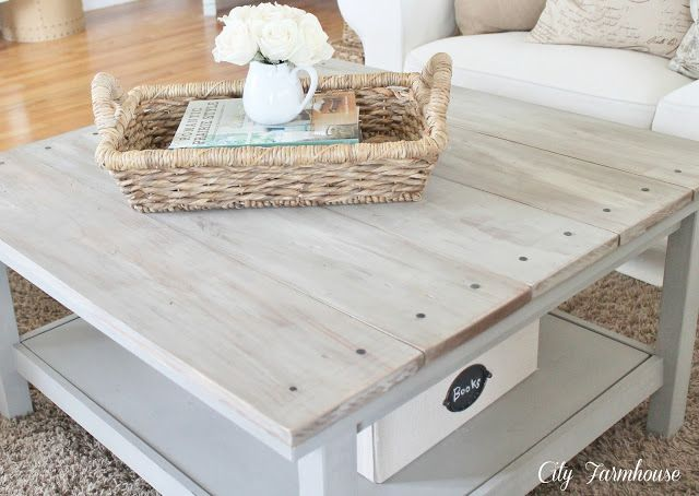 Adding wood planks to existing coffee table diy for Wood plank top coffee table