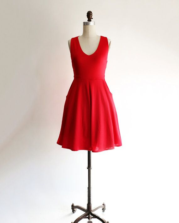 SOLSTICE | Red - cherry rich brilliant red cross back dress. retro casual bridesmaid dress. cross back straps with cut out. fit and flare
