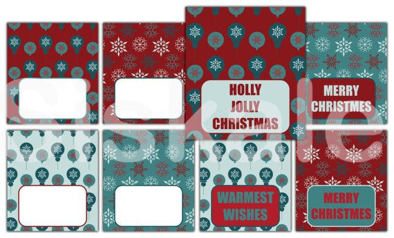 TENT CARDS Printable  Jolly XMAS Party Decorations  by Siskale