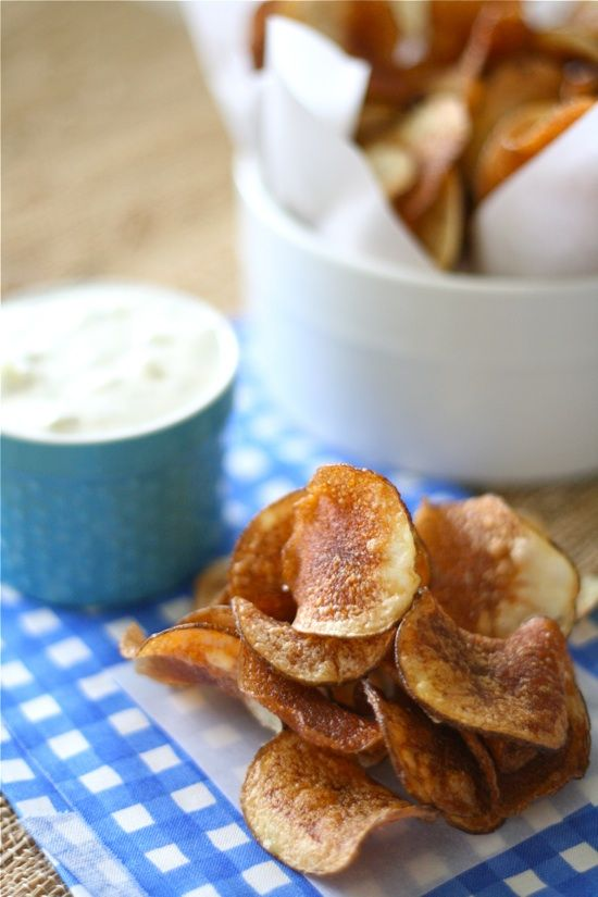 Homemade Kettle Chips with Onion Dill Dip.....(I literally JUST ordered a mandolin slicer on Amazon so I can make these)