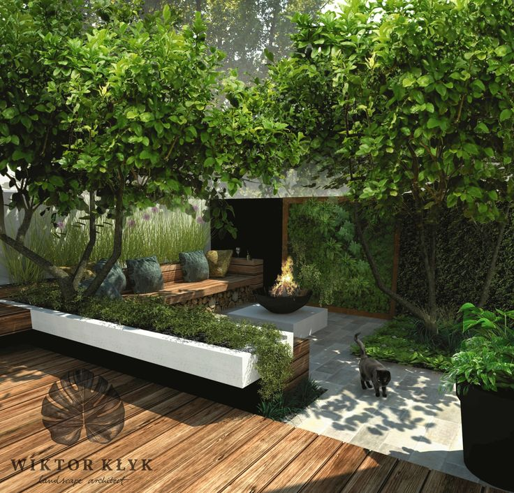 Small contemporary garden. Wonderful use of space incorporating shade, seating, heights creating different areas to enjoy, all within a small footprint I Landscape design: Wiktor Klyk