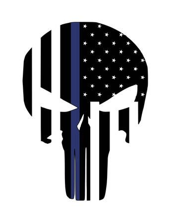 Thin Blue Line Punisher Skull / American Flag / Support Law Enforcement / Stars and Stripes by PBandJCreationsByJam on Etsy