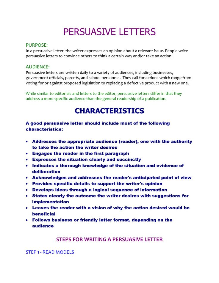 writing persuasive letter Your letter of motivation must make the recruiter want to meet you follow pnet's  tips for writing a convincing letter of motivation.