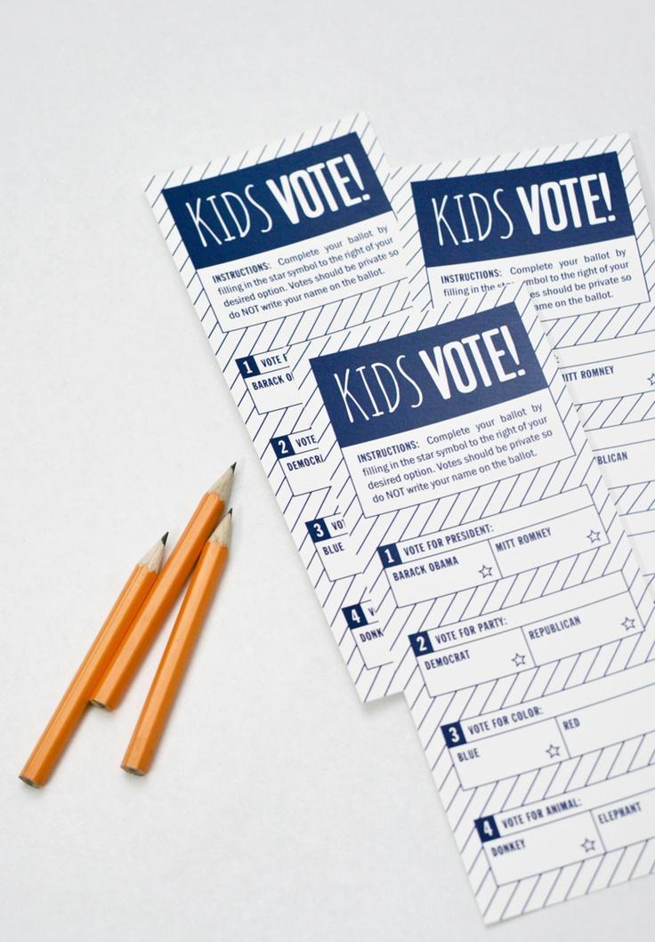 Kids voting ballot for presidential election (PagingSupermom.com) - cute idea for the boys