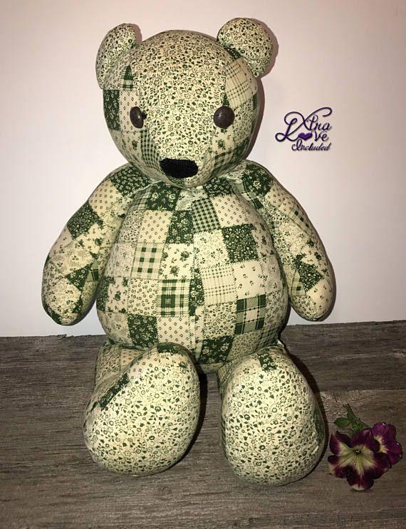 Vert Patchwork peluche ours, peluche ours, couette ours en peluche, ours en peluche, peluche ours, peluche ours, jouet ours bouton yeux et nez de feutre