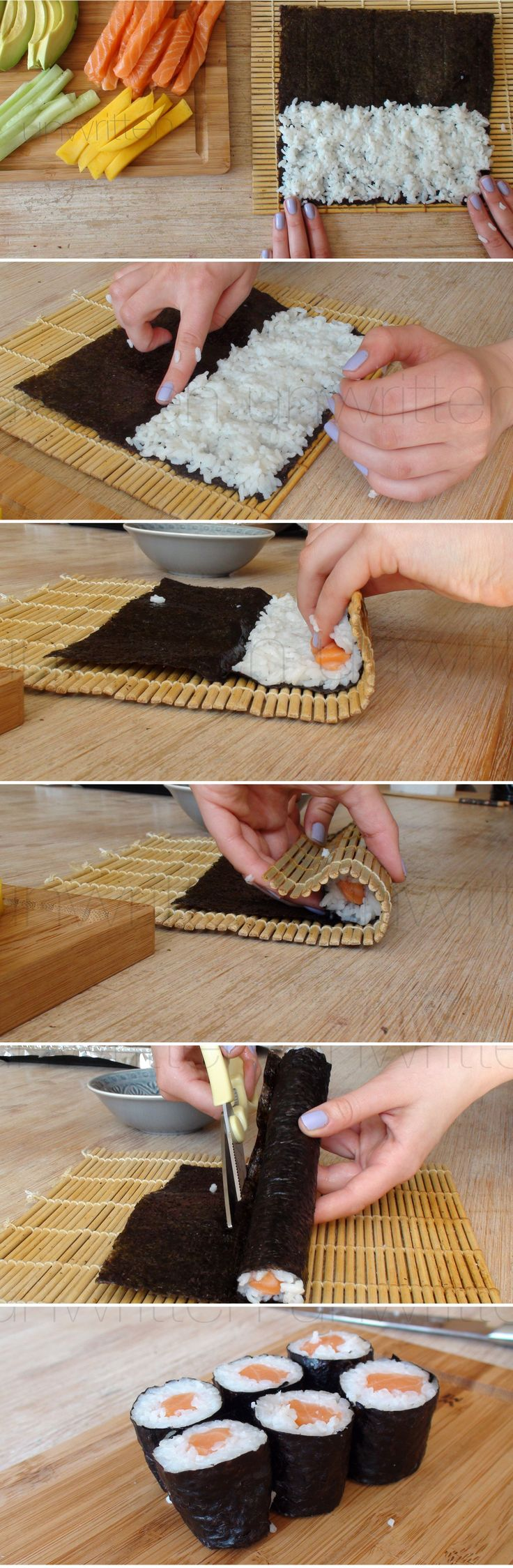 How to make SUSHI at HOME :) Hope you like it! @Suzy Mitchell Fellow deudney - maybe we can make this instead of the stuff imported from China ;P