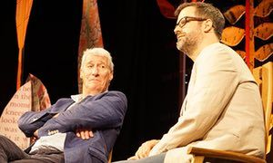 Jeremy Paxman on stage with Marcus Brigstocke at Hay festival, Hay-on-Wye.