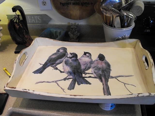Decoupage Tutorial - wooden tray painted white + graphics from the Graphic Fairy