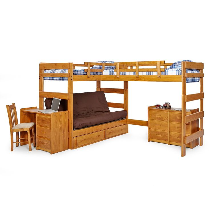 Woodcrest Heartland Futon Bunk Bed with Extra Loft - Honey Pine - Think outside the bed. The Woodcrest Heartland Futon Bunk Bed with Extra Loft makes space where there once was none! Its double loft, L-shape configur...