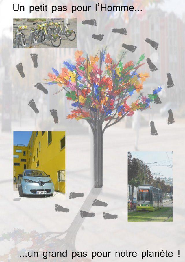 groupe 40 « En route vers demain ! » Photos prises le 23 septembre 2015 dans le quartier de Châteaucreux à Saint Etienne Nous avons décidé de réaliser ce montage car nous voulions présenter la tendance écologique Stéphanoise. En effet, ces dernières années, la ville de SaintEtienne a pris ses dispositions afin de lutter, à l'échelle locale, contre la pollution.
