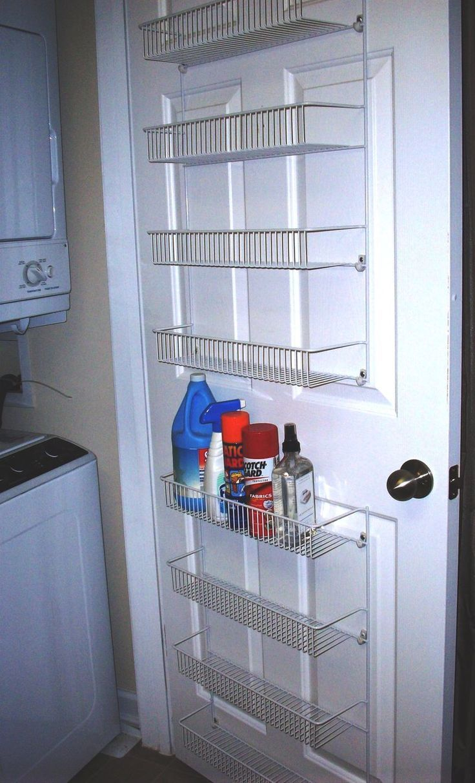 Minimalist Laundry Room With Rless Cabinet Behind Door Storage Racks White Wire Hanging