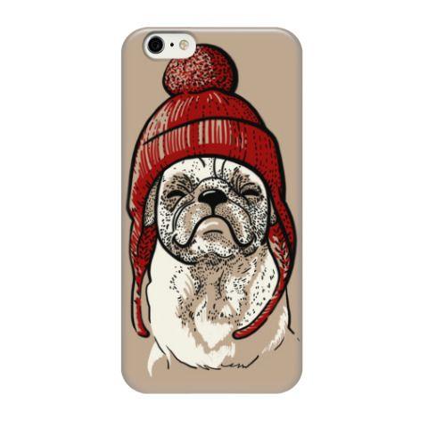 Чехол для iPhone 6 Мопс в шапке - купить в интернет-магазине Printdirect.ru