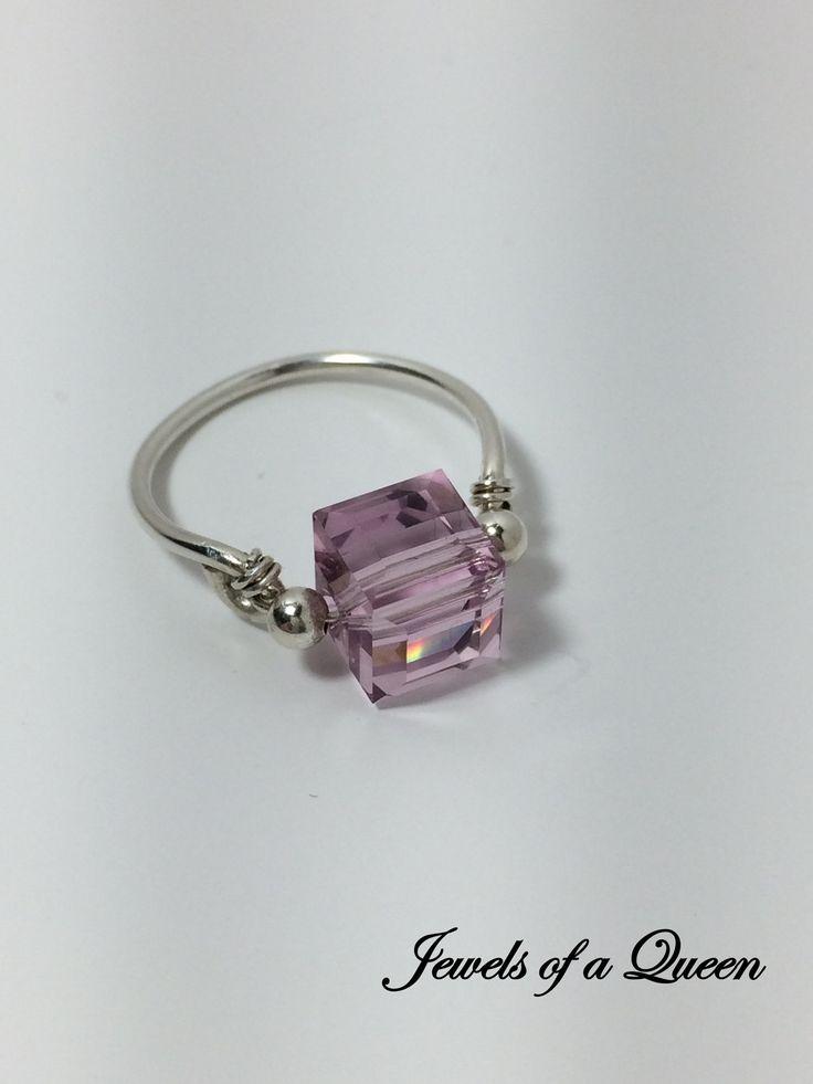 Light Amethyst Ring ~ Swarovski Crystal Ring ~ Wire Wrapped Ring ~ Wire Wrap Jewelry ~ Swarovski Solitaire Ring ~ Amethyst Crystal Ring by JewelsOfAQueen on Etsy https://www.etsy.com/listing/494574764/light-amethyst-ring-swarovski-crystal