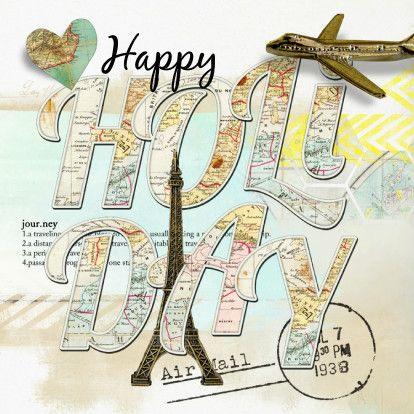 Happy Holiday vakantiekaart, verkrijgbaar bij #kaartje2go voor €1,79