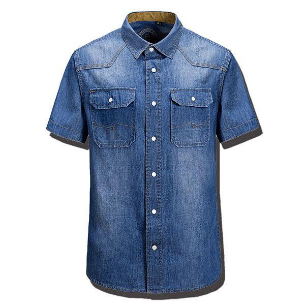 Summer Mens Loose Fit Denim Front Pockets Turndown Short Sleeve Casual Cotton Shirts