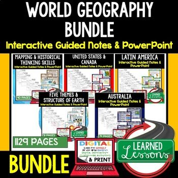 WORLD GEOGRAPHY Interactive Guided Notes and PowerPoints BUNDLE, Google and Print ➤GEOGRAPHY Notes, GEOGRAPHY Interactive Notebook, Google and Print, GEOGRAPHY Note Taking, GEOGRAPHY PowerPoints, GEOGRAPHY Anticipatory Guides, GEOGRAPHY Digital Graphic Organizers