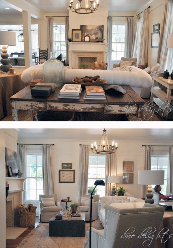 2012 Southern Living Idea House. love the herringbone pattern in the fireplace, wood planked walls, striped curtains