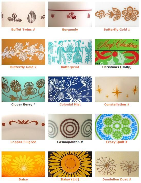 Retro Pyrex Patterns...I would love to find a few pieces in some of these patterns :O)