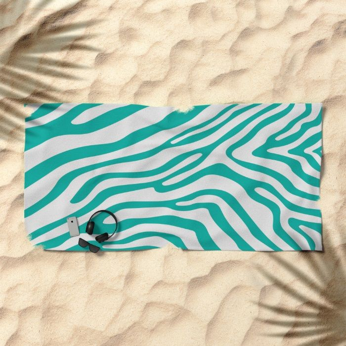 Summer Zebra: Turquoise Beach Towel by REALITY Studios   Society6