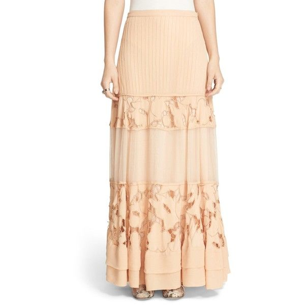 Free People 'To Put It Wildly' Lace Inset Maxi Skirt ($100) ❤ liked on Polyvore featuring skirts, peach, floral skirt, long floral skirts, maxi skirt, long boho skirts and floral print maxi skirt