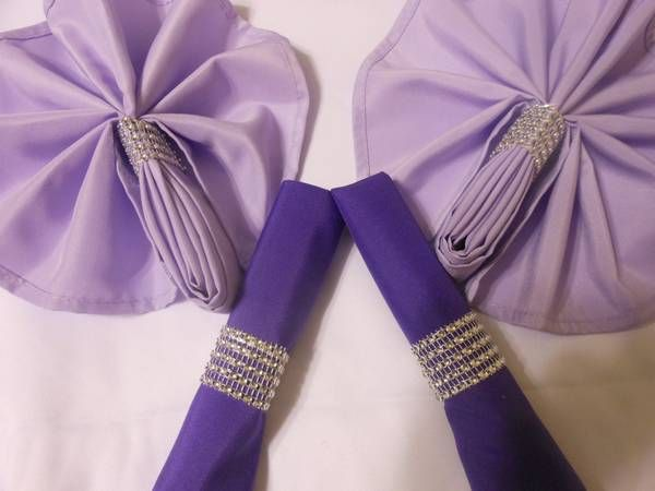 """The napkin rings have 5 rows  and have approximately a 1½ fixed diameter which is large enough for 20"""" or 17"""" napkins. These are sealed with industrial sealant not hot glue. They will not come apart under normal use circumstances so you do not have to worry about the seal breaking on your special day.   Napkin Rings $50 per 100"""