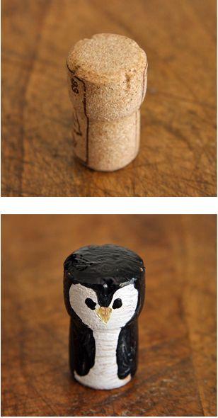 Wine cork penguin  Il pinguino di sughero per giocare all'Antartide quando fa caldo...
