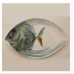 FISH PLATE use a white eye/oval shape plate and sharpie marker the baked on a white dish with sharpie marker... BAKE 350 degrees 30 minutes, let cool in the oven.
