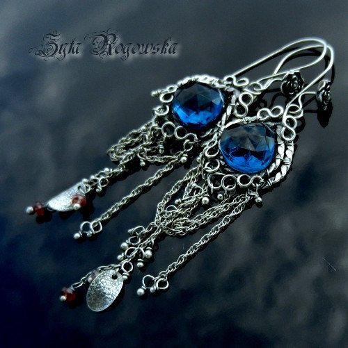 SNOW QUEEN Wire Wrapped Earrings SILVER blue by BraceletsWorld, $79.00