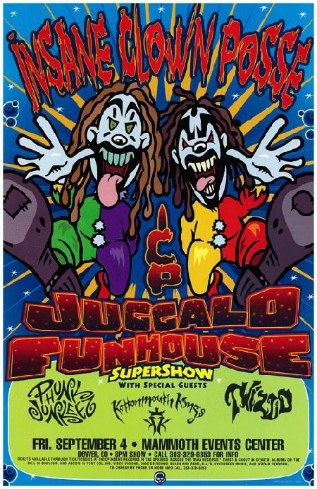 Concert poster for Insane Clown Posse's Juggalo Funhouse Supershow in Denver, CO in 2000. 11
