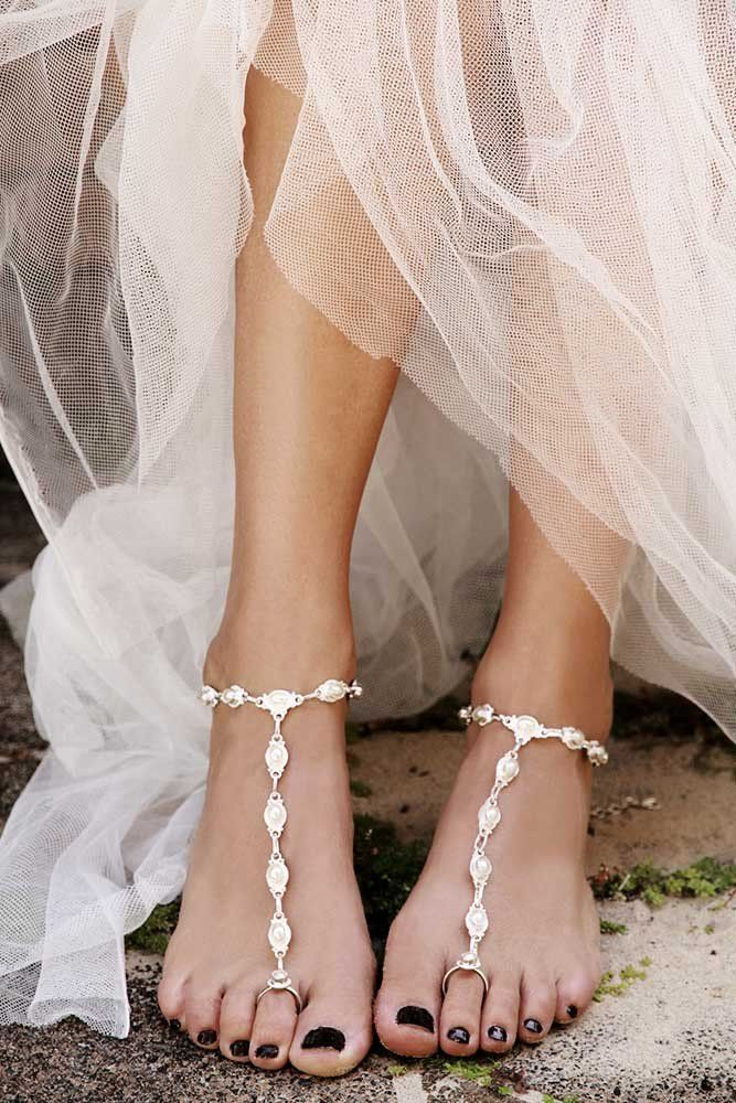 Silver Exquisite Barefoot Sandals for the statement Bride on her Wedding – Forever Soles
