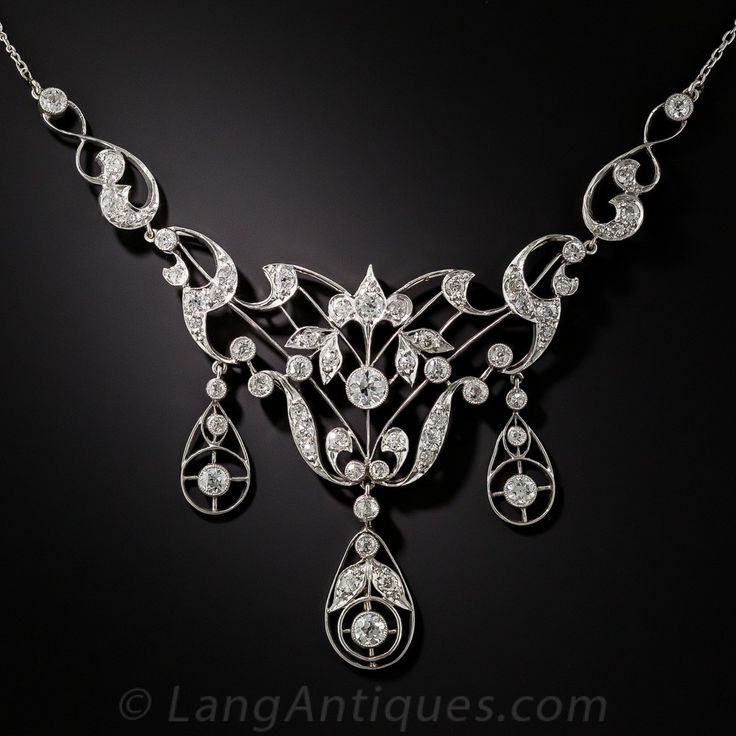 Platinum Diamond Edwardian Necklace Early 20th century