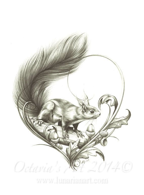 Squirrel Temporary Tattoo Curious Squirrel by OctaviaTattoo